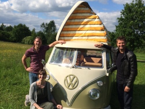 George Clarke with Polly and Mark and their camper van Matilda