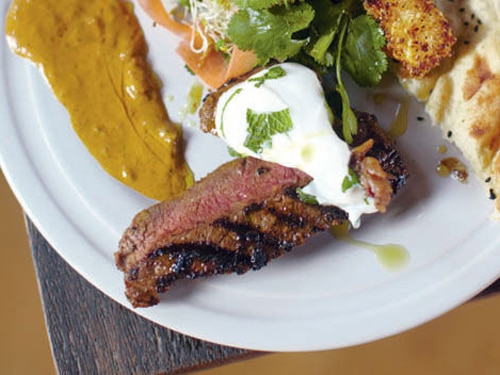 Steak Indian Style with Mango Dessert Meal Recipe