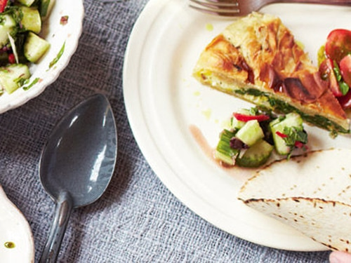 Spinach and Feta Filo Pie with Coated Ice Cream Meal Recipe