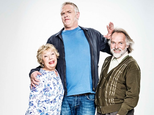 Greg Davies starring as Dan with his parents