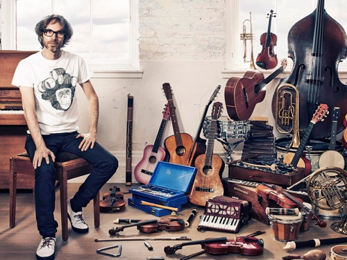 James Rhodes with musical instruments