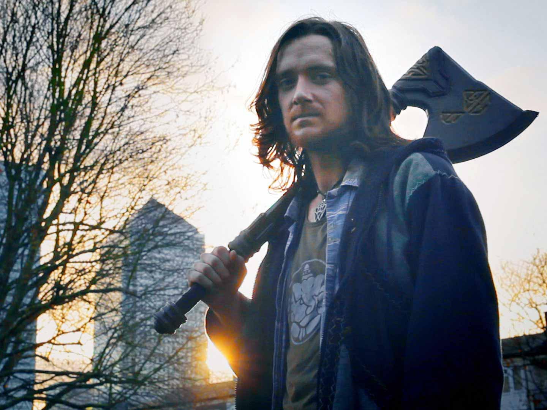 Man with fake axe