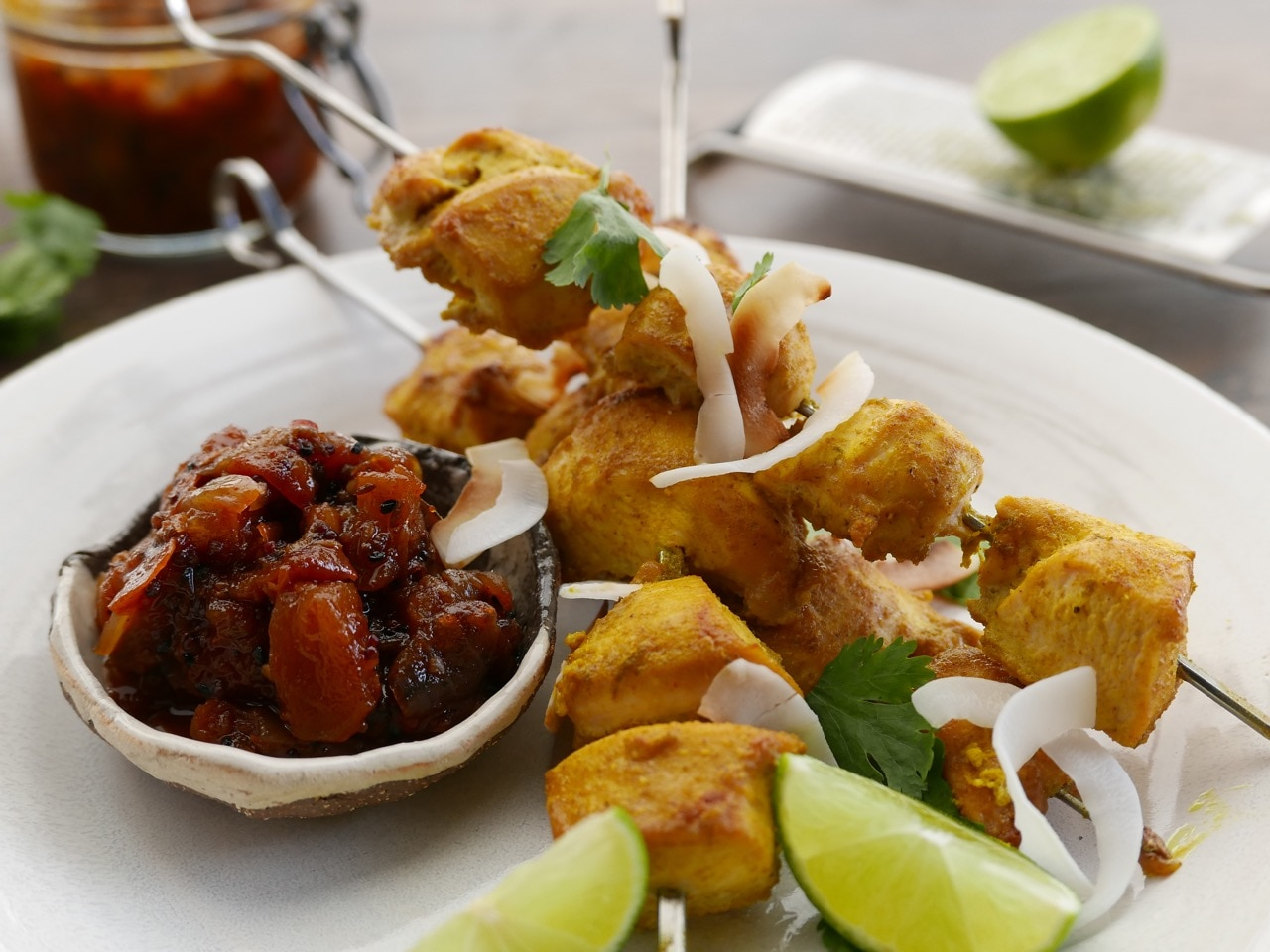 Coconut Chicken Skewers with Tomato Chutney Dip