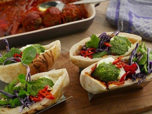 Braised Lamb Kofte Pitas with Garlic Yoghurt, Pickled Chilli and Herb Salad