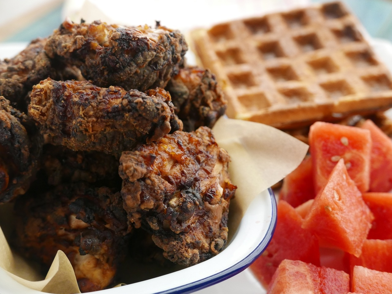 Cola Brined Chicken With Waffles