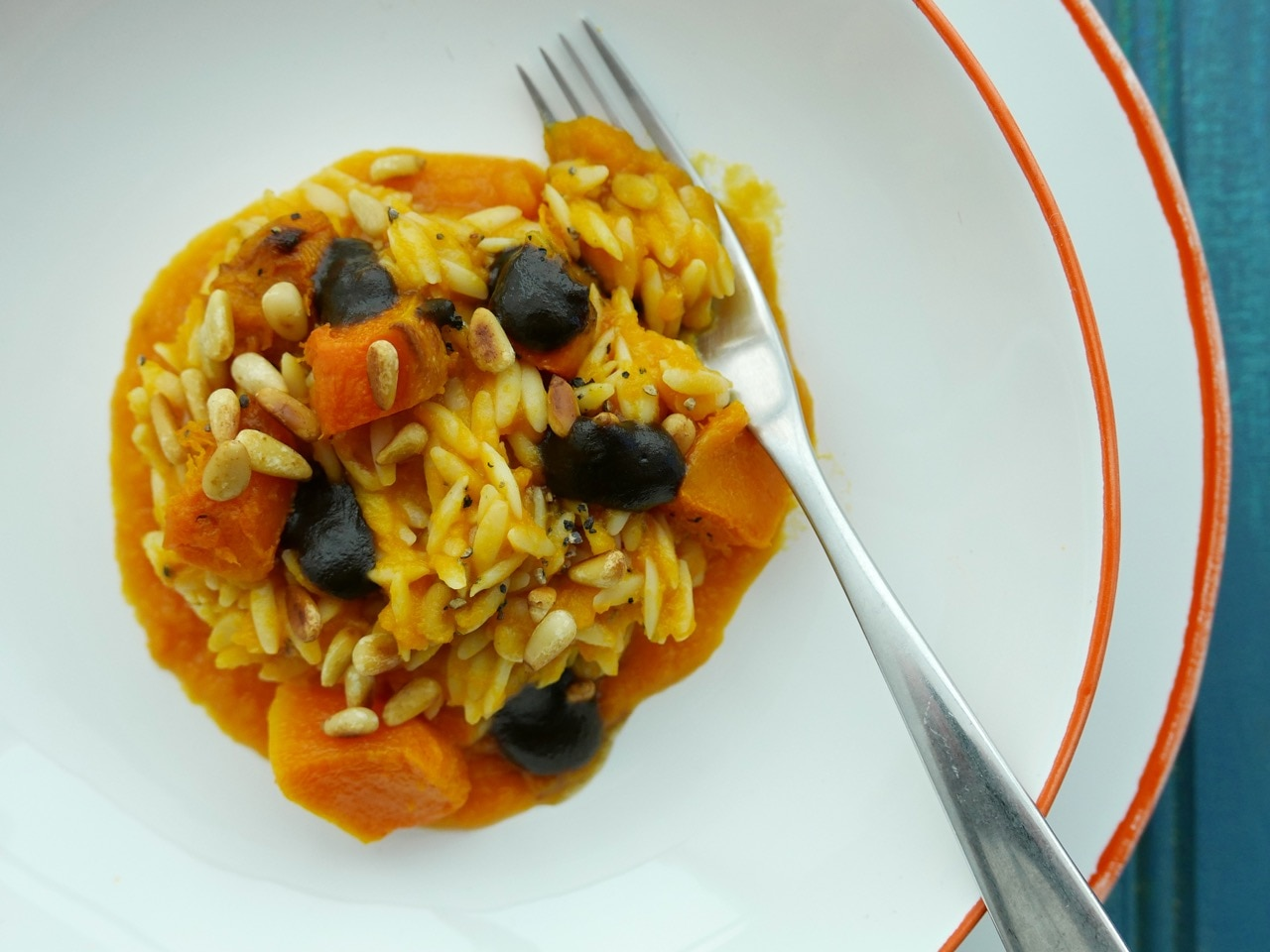 Orzo with Squash and Olive Caramel