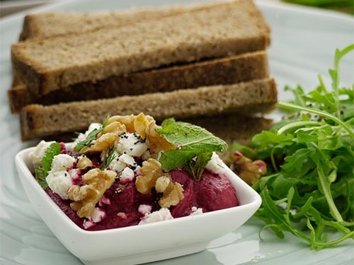 Beetroot Walnut and Feta Dip with Rye Bread