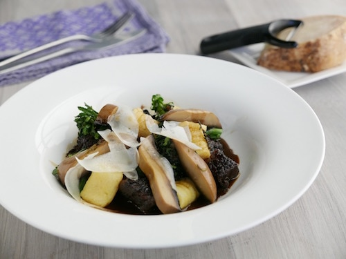 Braised Short Ribs with Potato Dumplings and Field Mushrooms