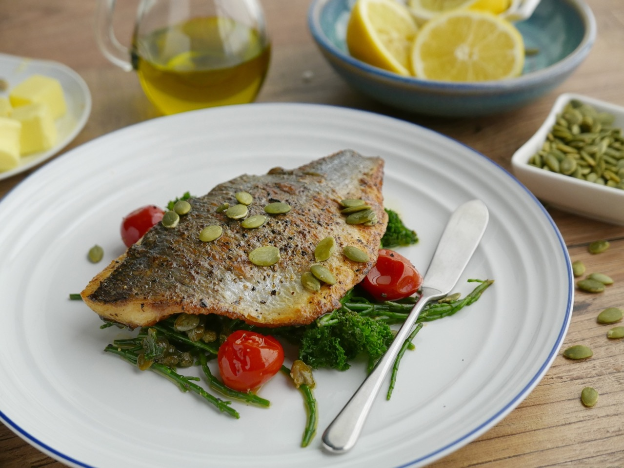 Bream with Cherry Tomatoes, Capers, Kale and Samphire