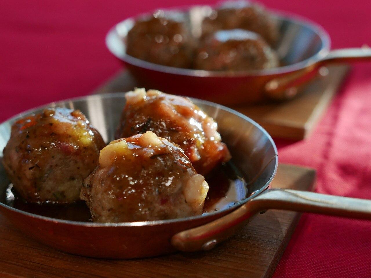 Ham & Stuffing Balls with Honey Mustard Glaze
