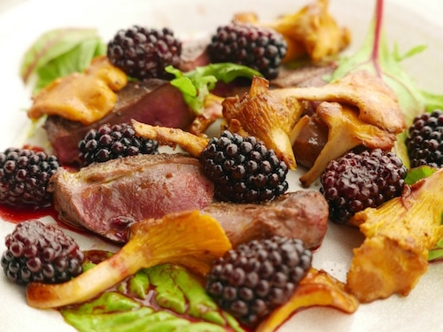 Pigeon with Chanterelles and Blackberries