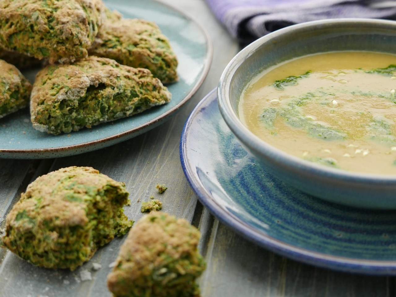 Colcannon Soup with Parsley Pesto and Soda Scones