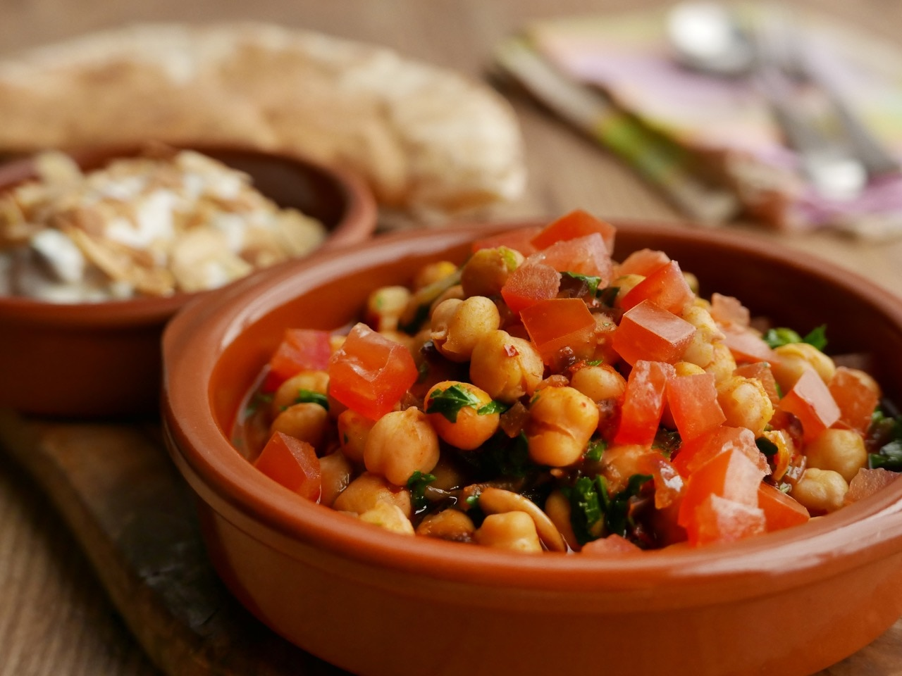 Burnt Courgette Tzatsiki with Spicy Chickpeas