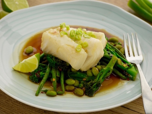 Miso Glazed Cod with Soy and Lime Green