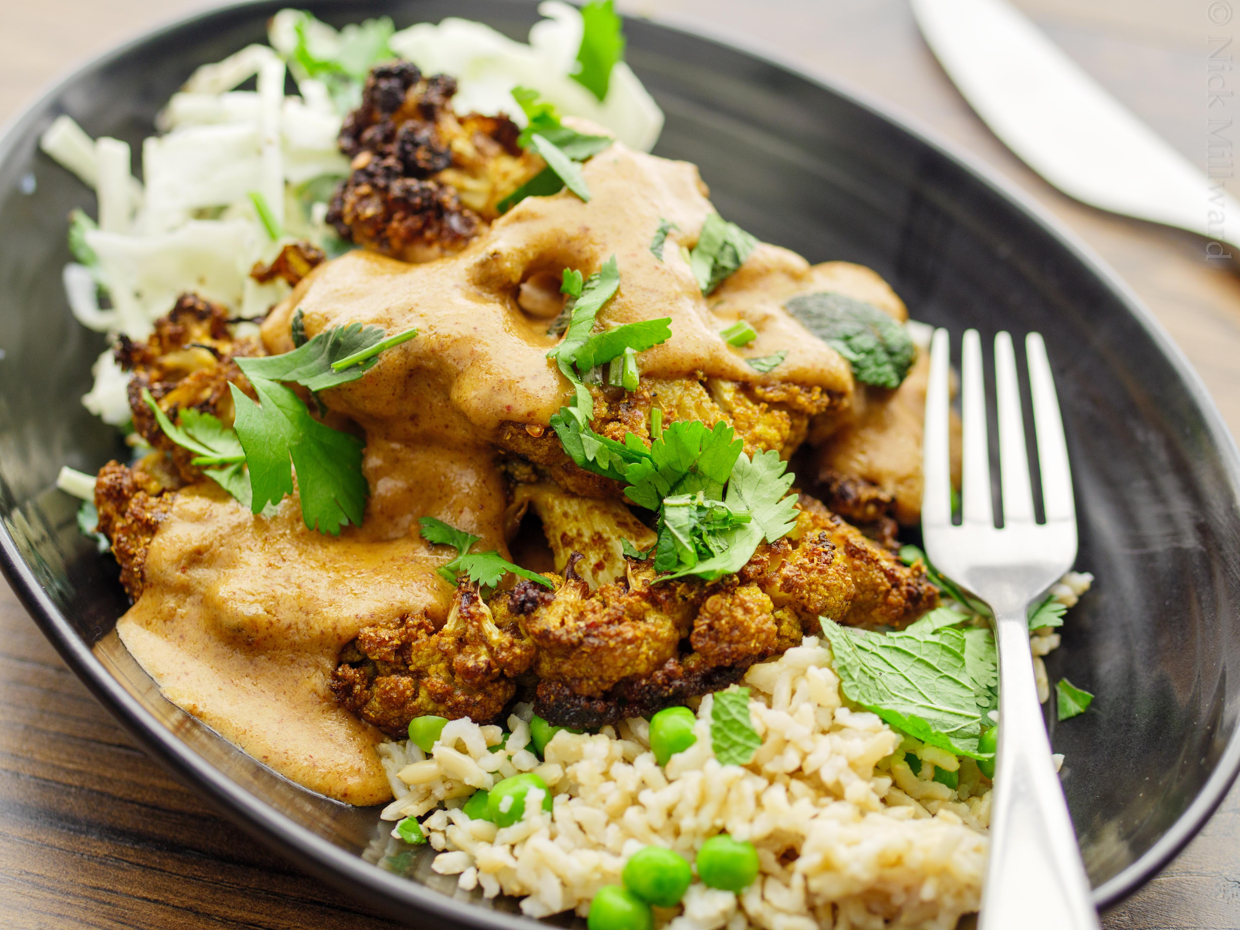 Satay Cauliflower with Rice and Slaw