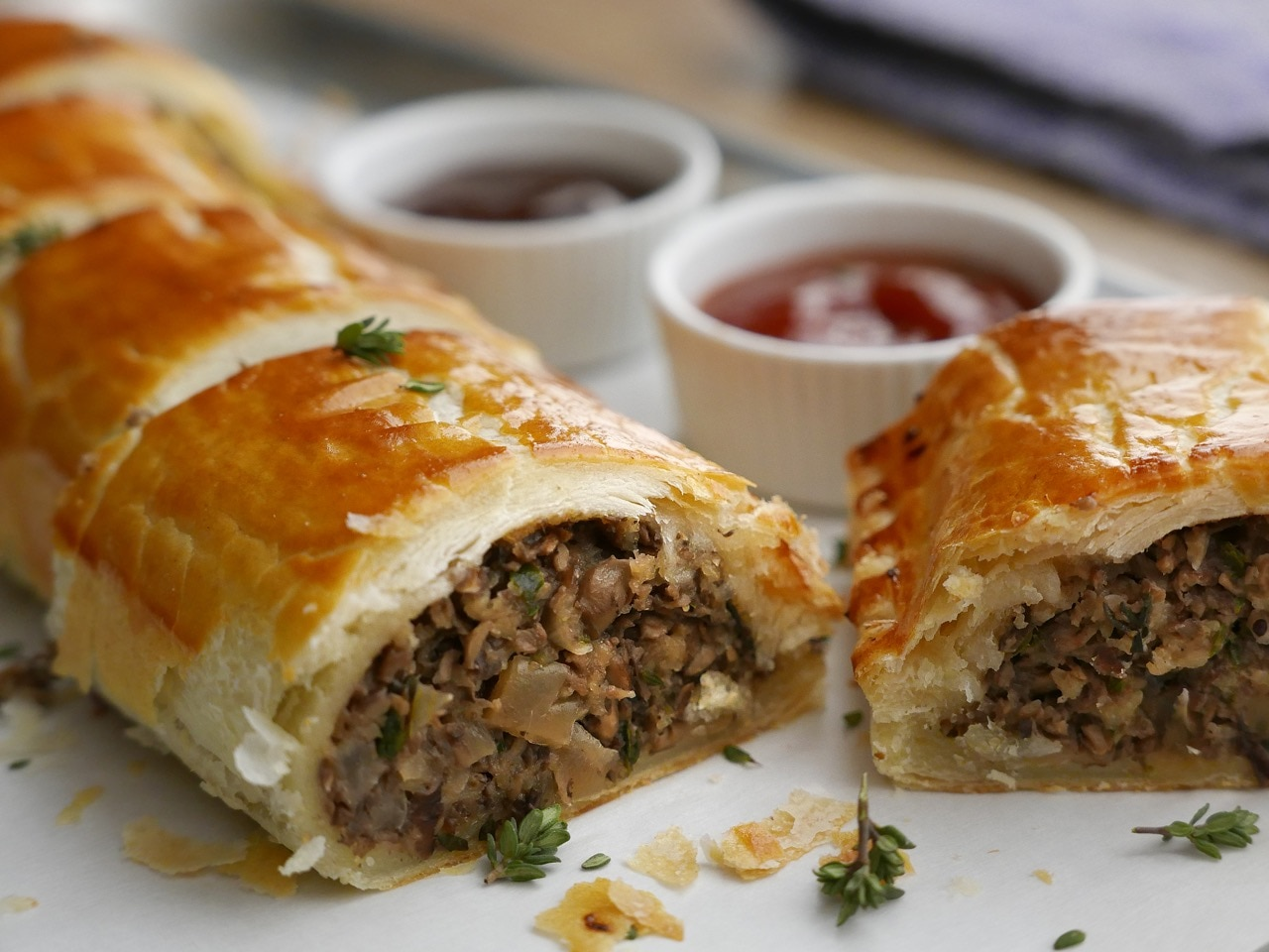 Truffle Mushroom and Cranberry 'Sausage Rolls'
