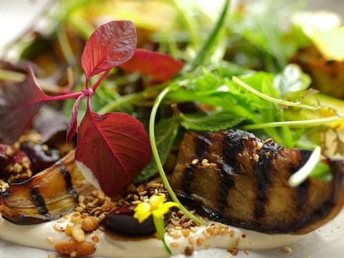 Roast Aubergine with Sesame, Dukkah, Mustard Leaf and Cherries