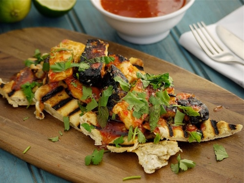 Lime and Chilli Halloumi with Pineapple Flatbread
