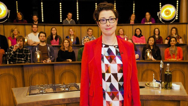 Sue Perkins hosts a series in which three brilliant chefs demonstrate their skills and answer questions from a studio audience
