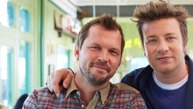 Jamie Oliver and Jimmy Doherty open a pop-up caff, where they serve up - and big up - the best of British food