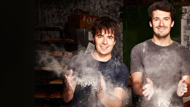 Two brothers - one a baker, the other a chef and butcher - unlock the trade secrets of baking, and without a cupcake in sight