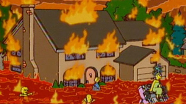 The Simpsons house submerged in lava