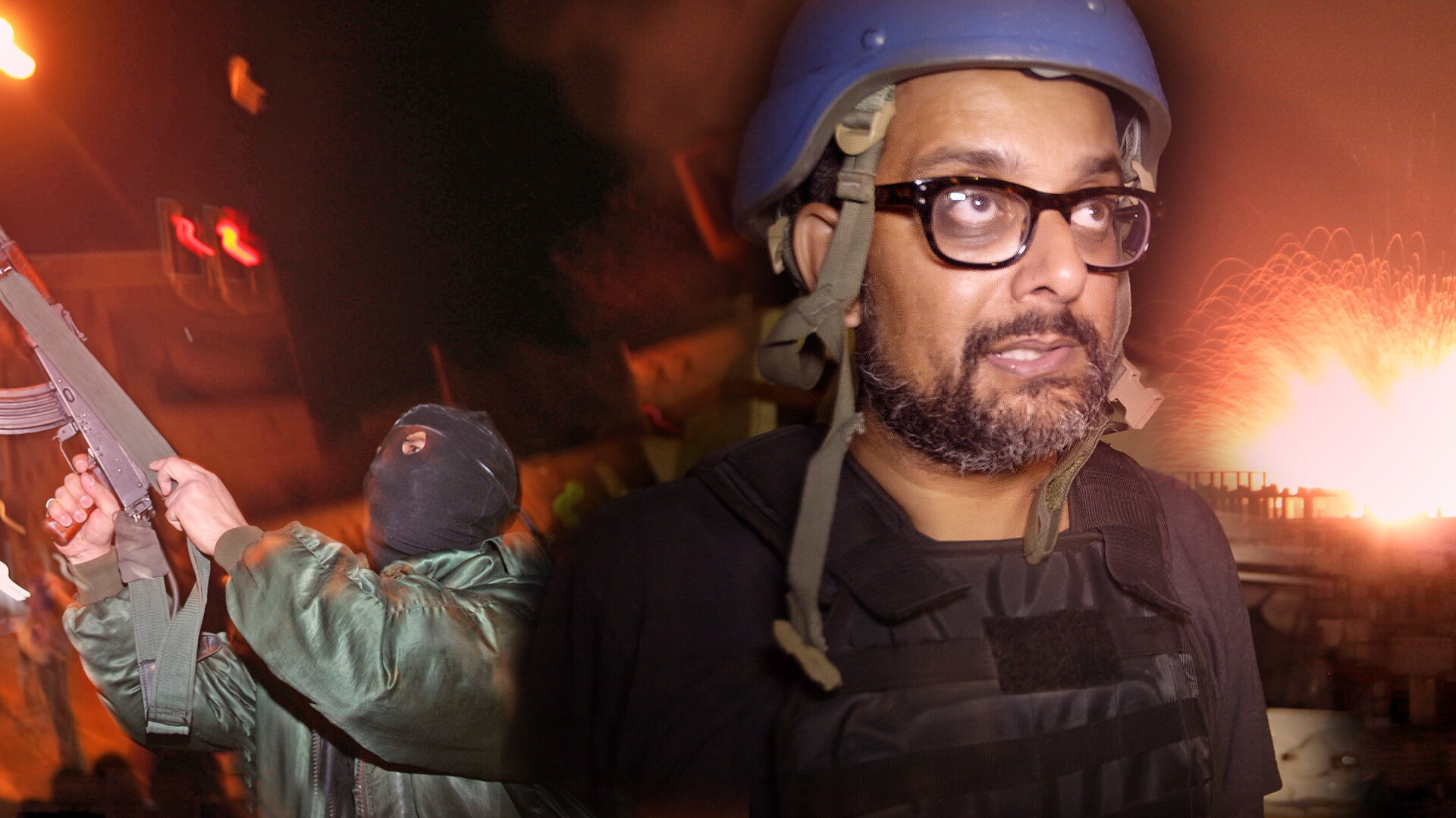 Suroosh Alvi wearing a helmet in a war-zone