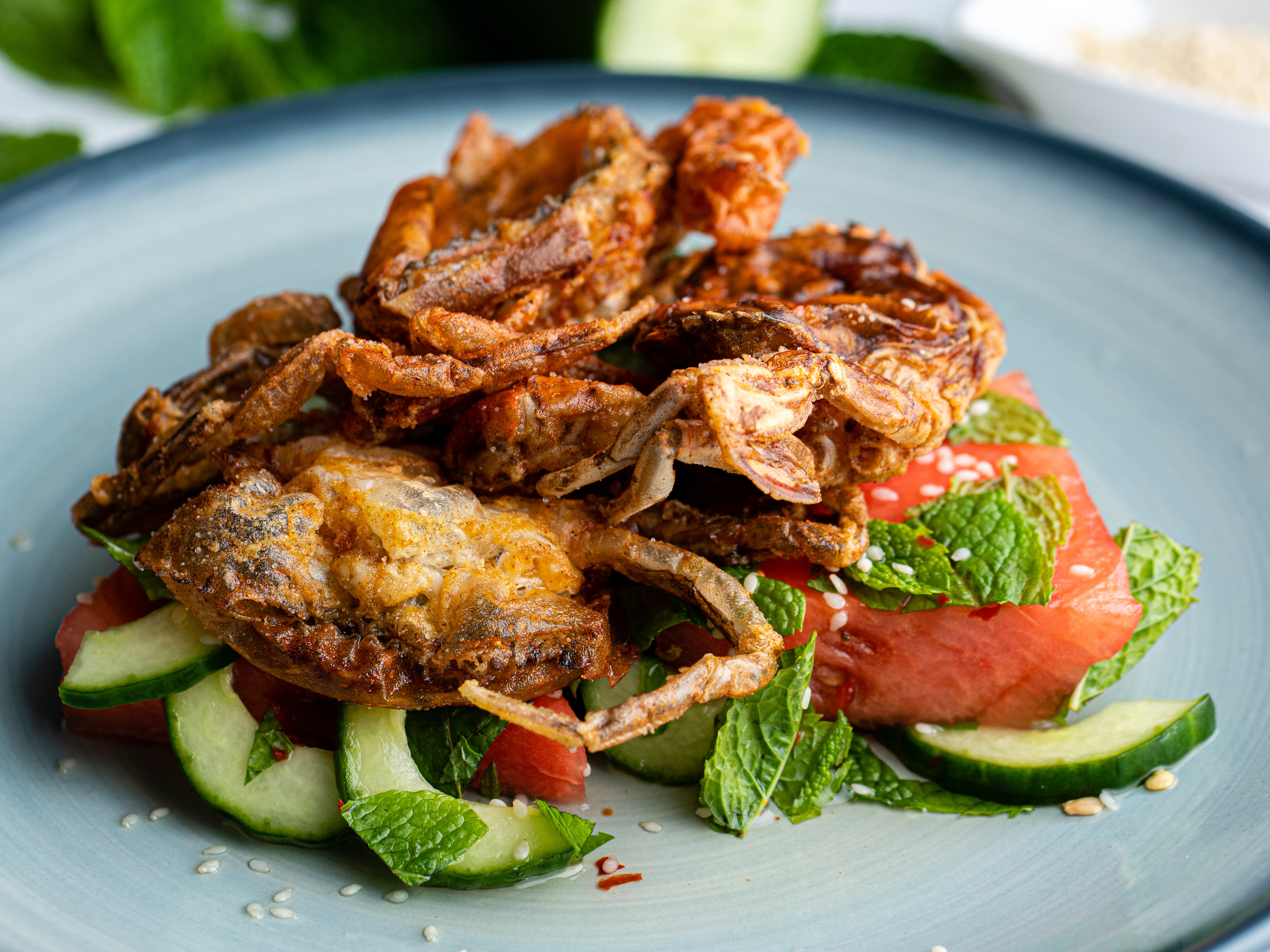 Soft Shell Crab with Pickled Watermelon and Cucumber