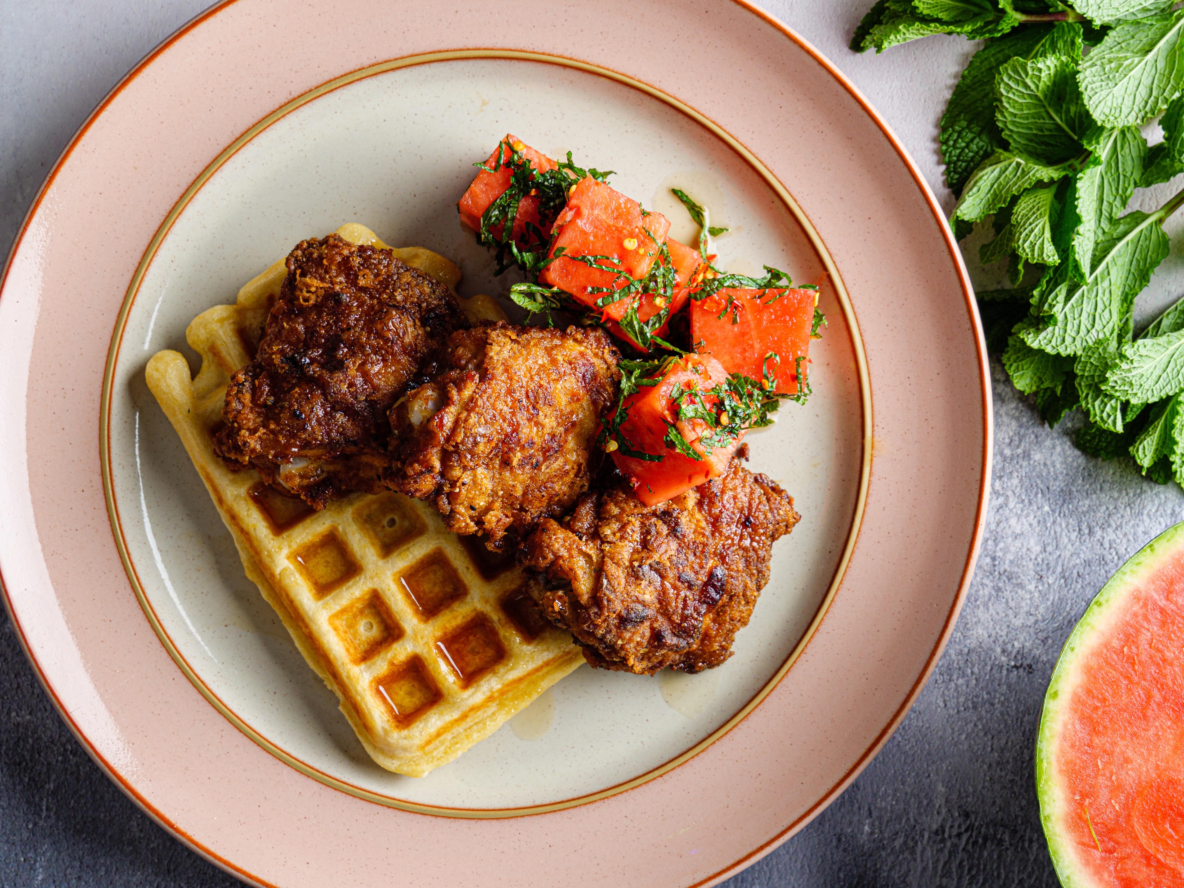 Cola Brined Chicken & Waffles
