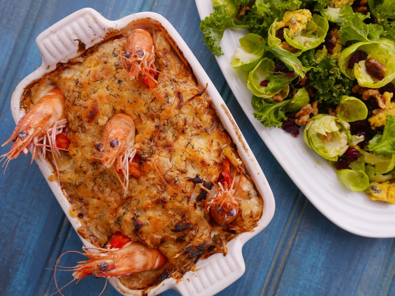 Clodagh McKenna's Fish Pie with Brussels Sprout Petal Salad