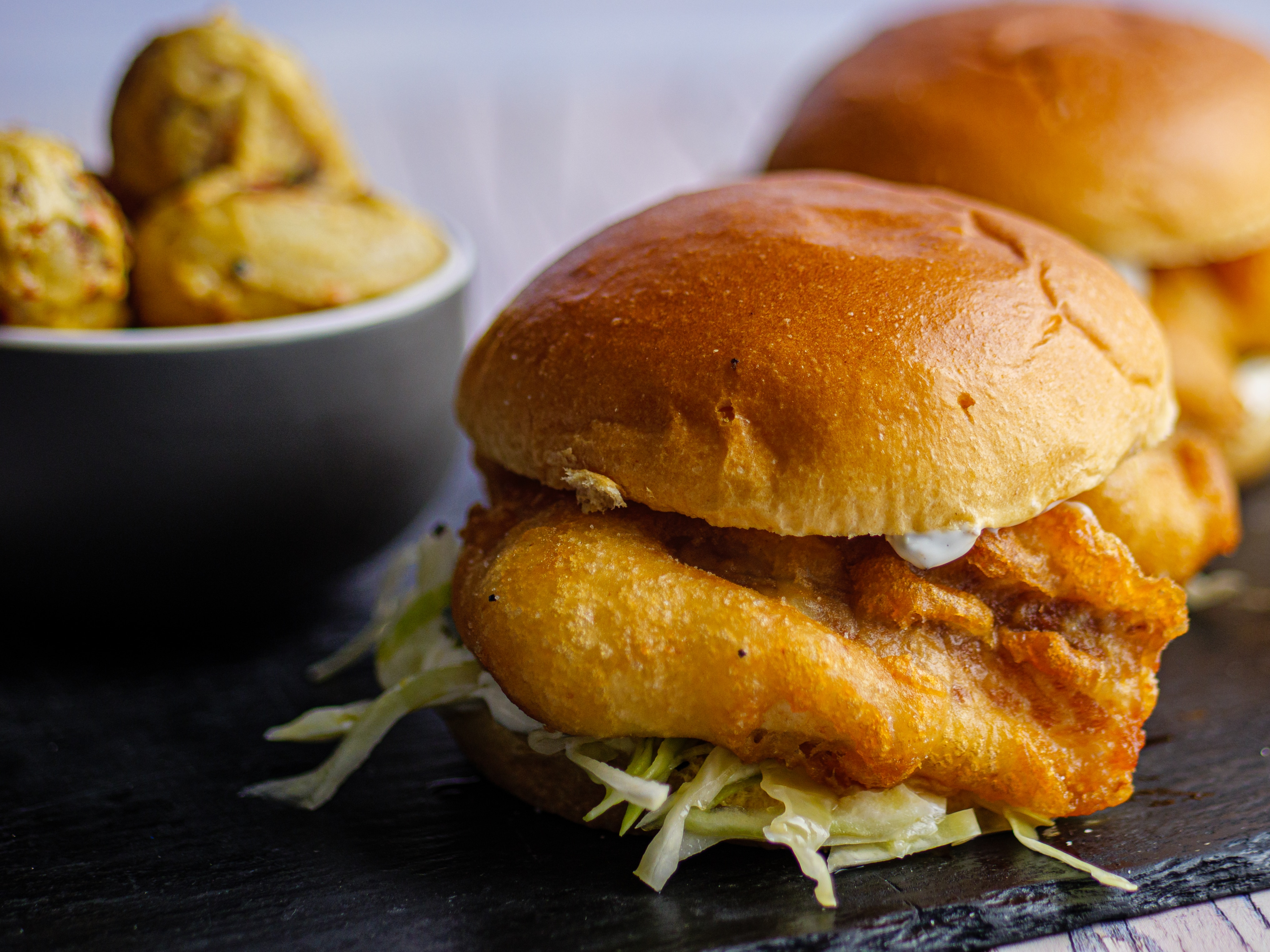 Fish Burger With Fiery Potatoes