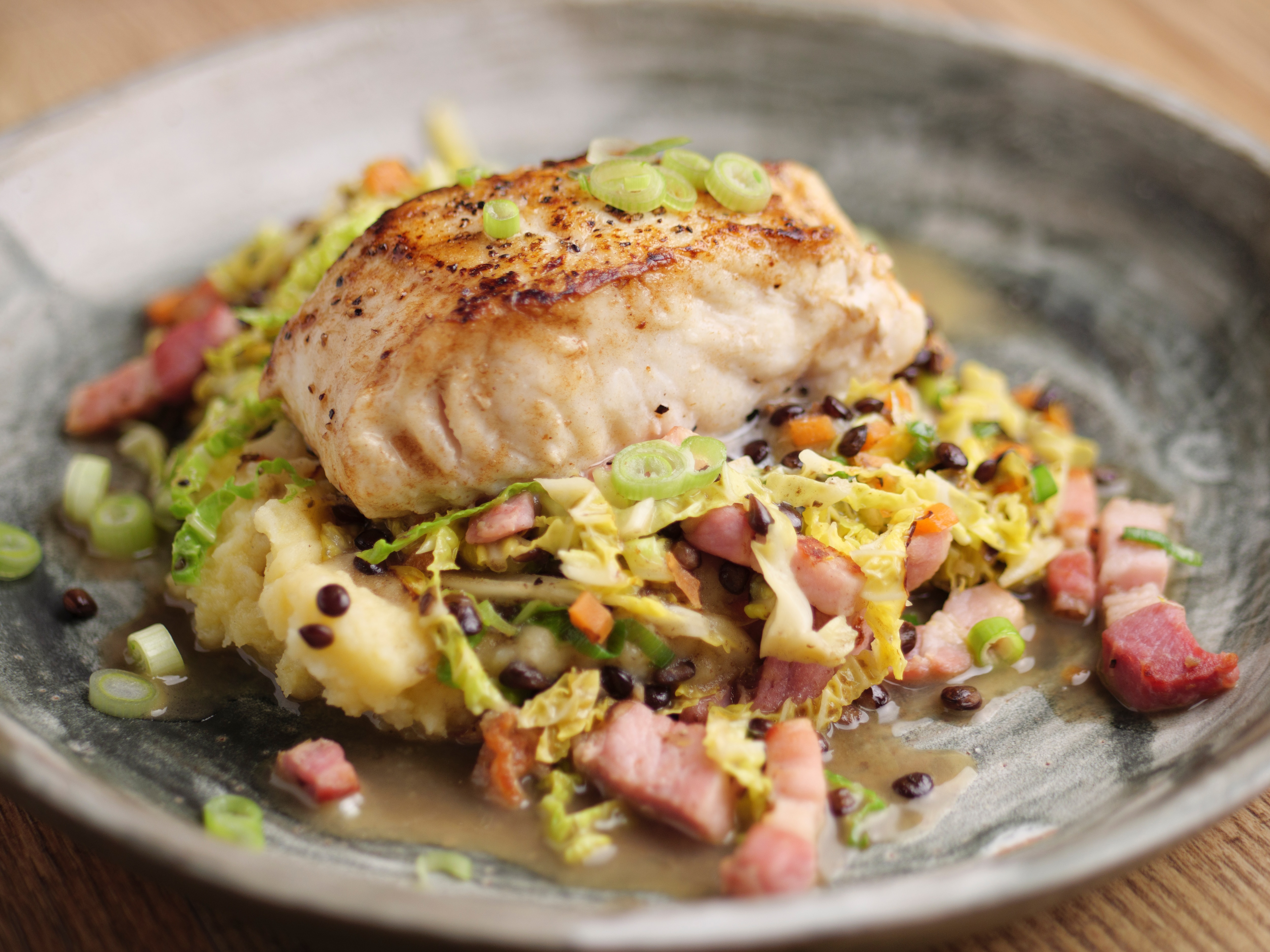 Hake With Mash, Cabbage And Bacon