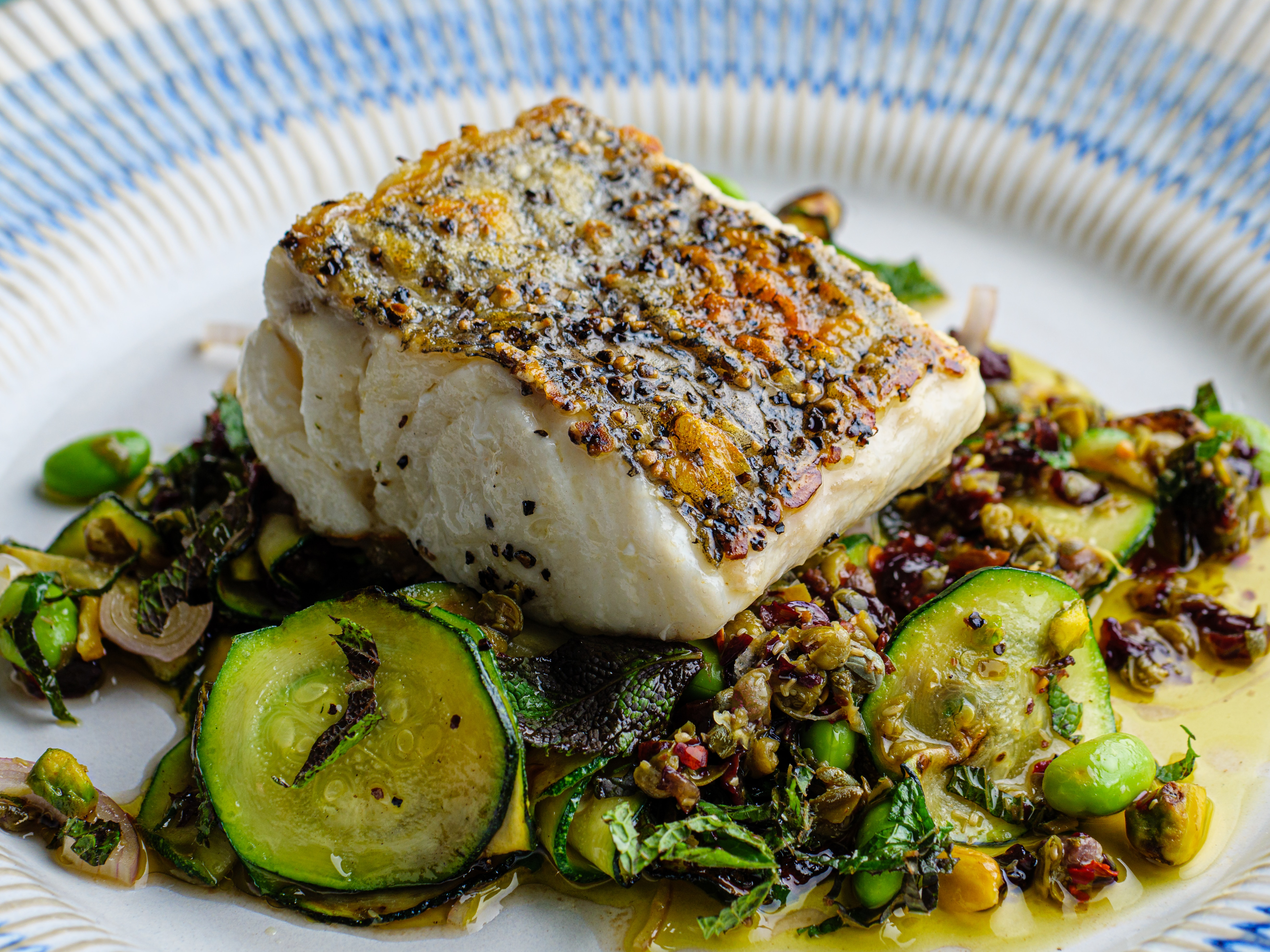Hake With Courgettes, Mint & Edamame