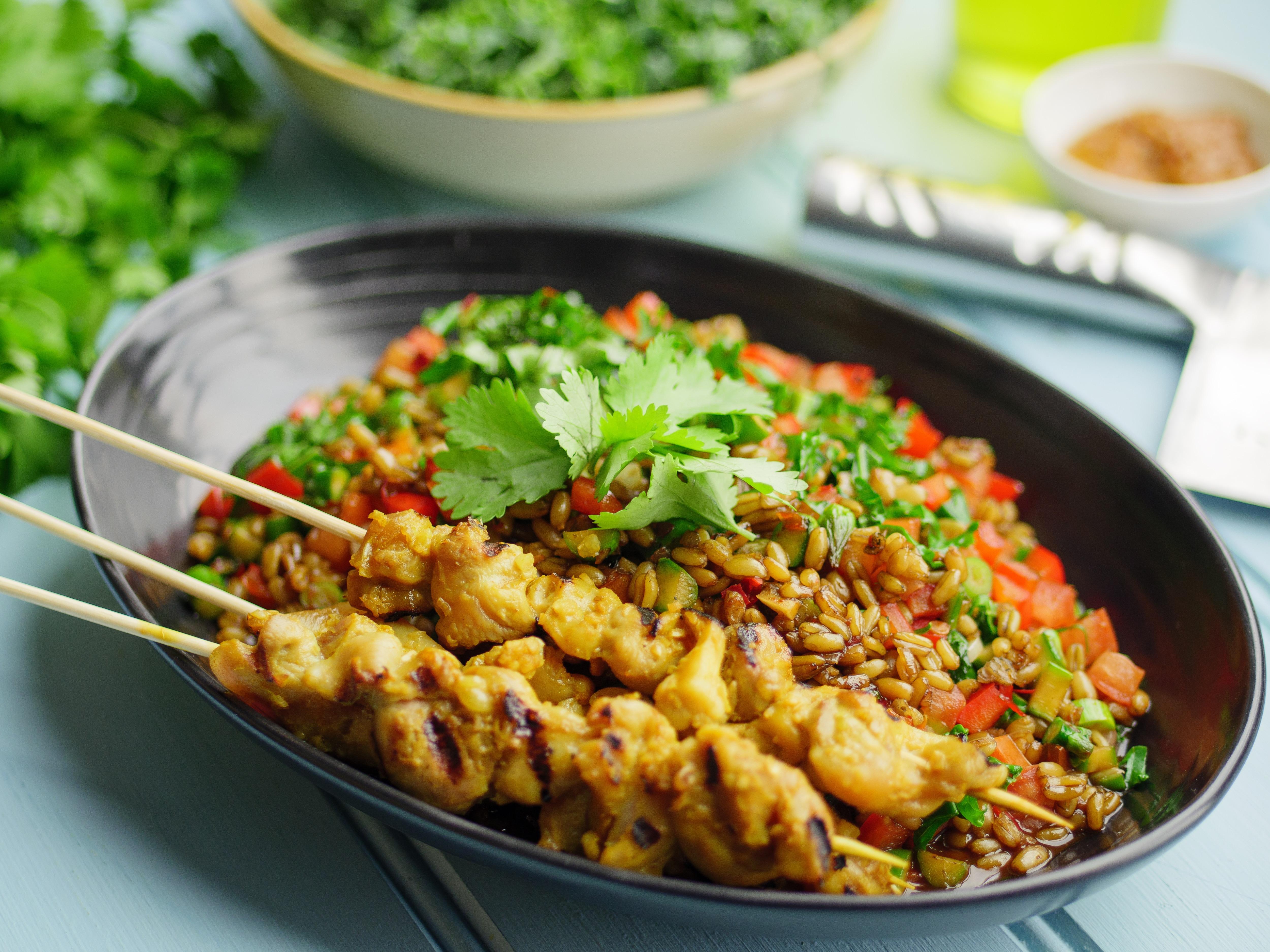 Chicken Satay With Freekeh Nasi Goreng