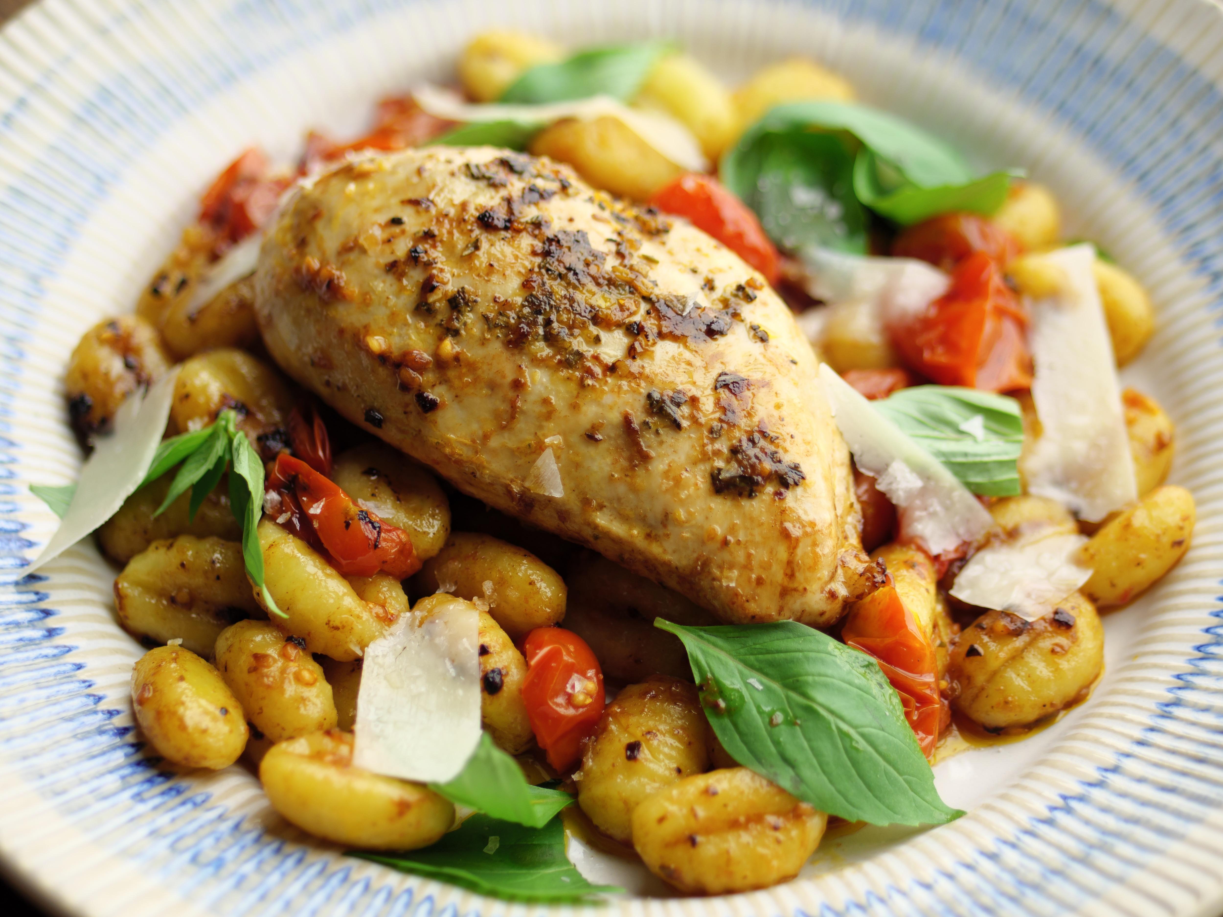 Garlic & Rosemary Chicken With Tomato Gnocchi
