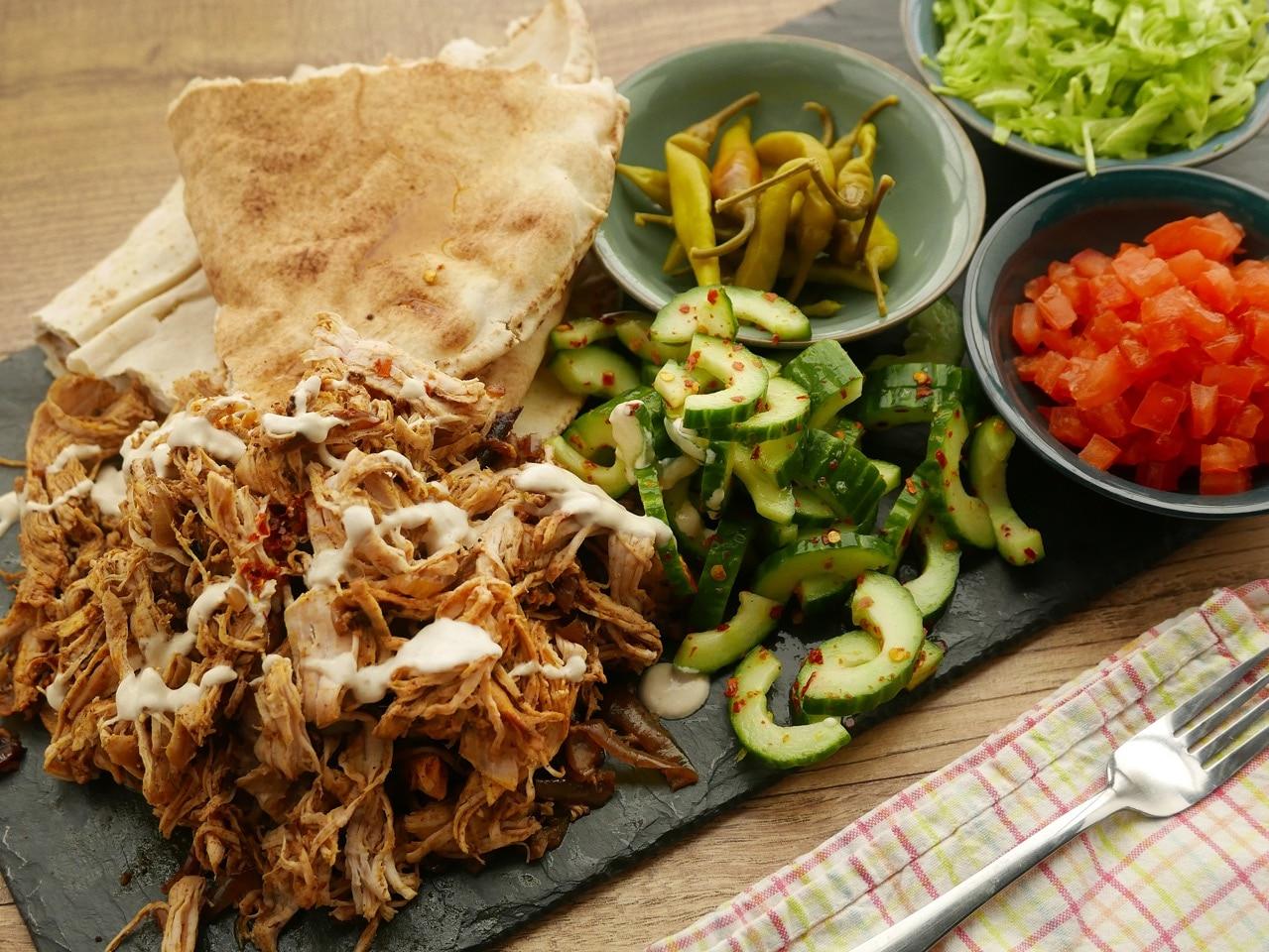 Turkey Shawarma with Cucumber Salad