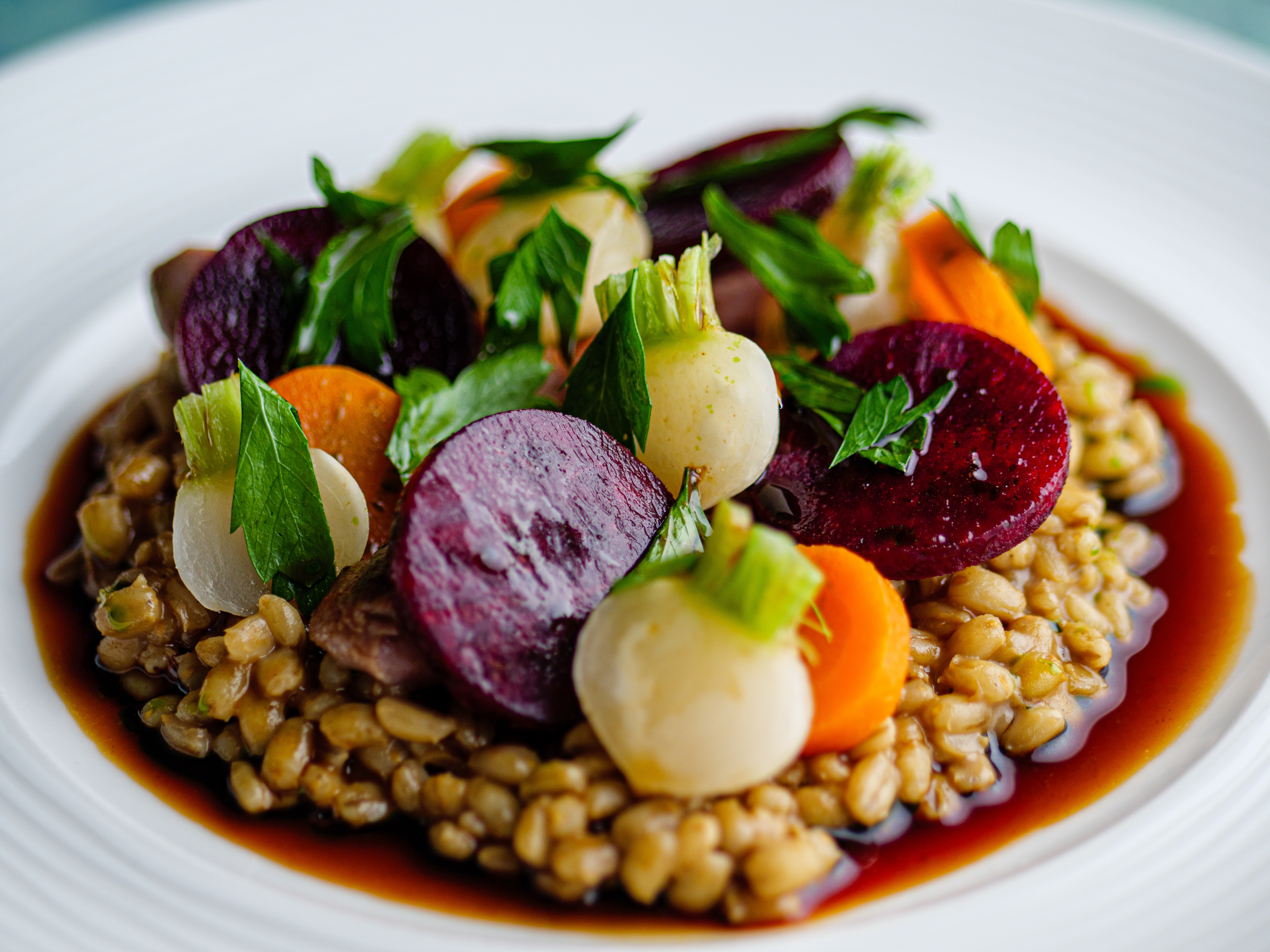 Pearl Barley Risotto with Game and Autumn Vegetables
