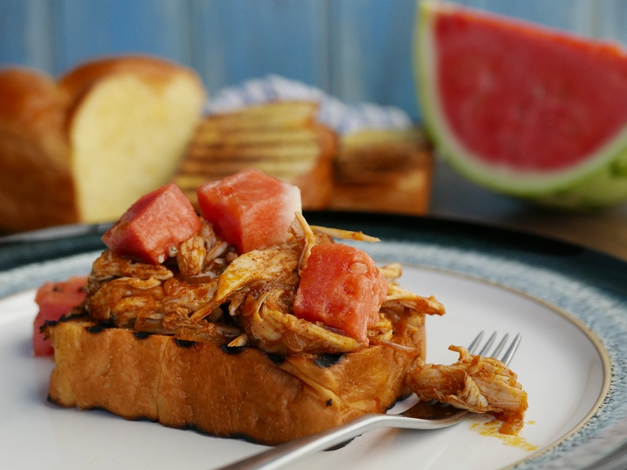 Spicy Chicken and Pickled Watermelon on Toast