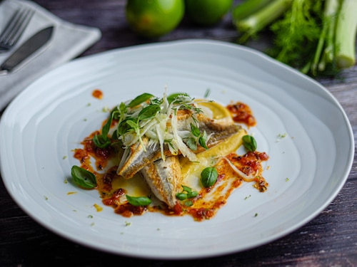 Gurnard With Thai Puree, Fennel Salad And Ketchup Sauce