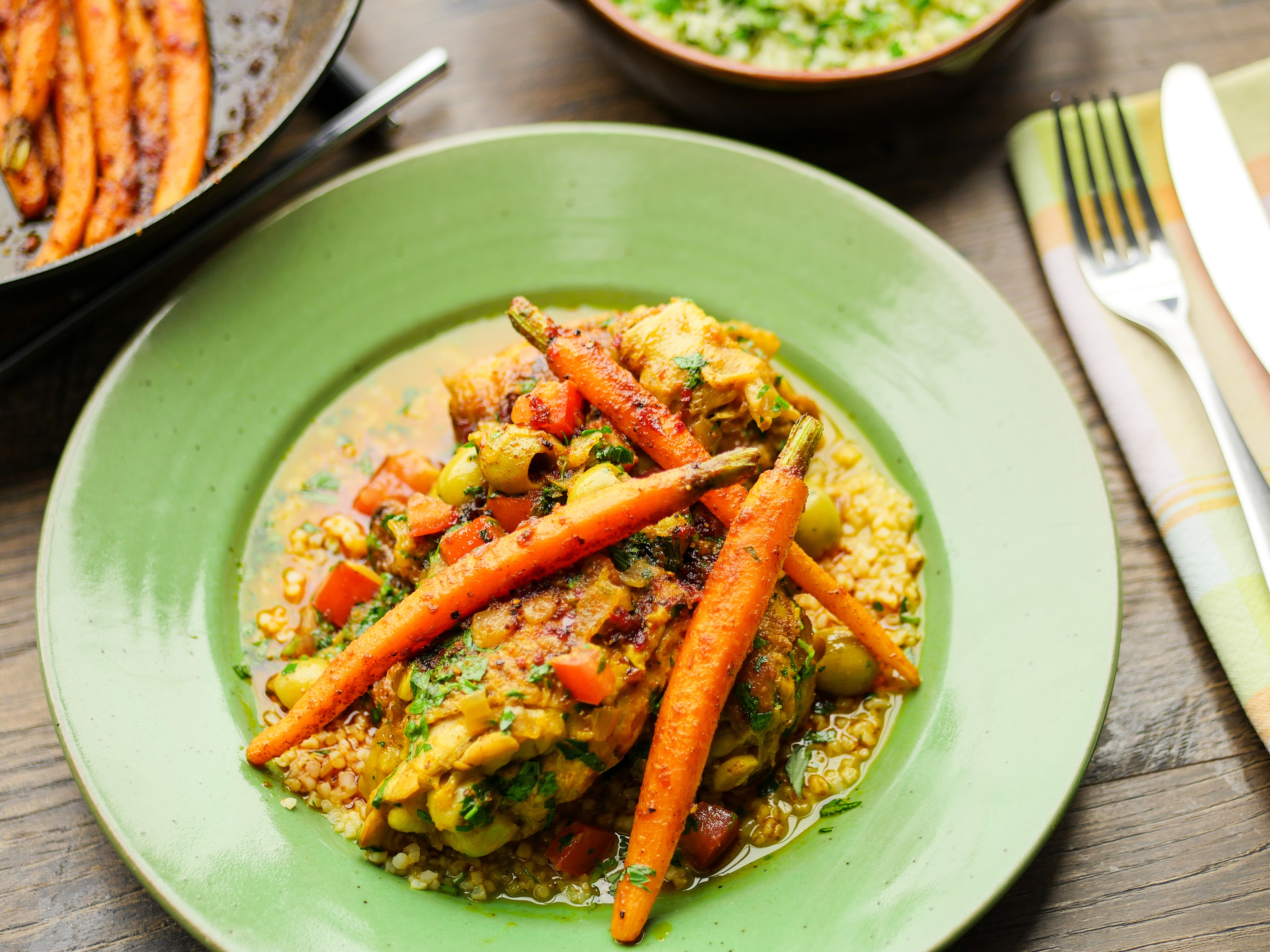 Morrocan Chicken with Harissa Carrots