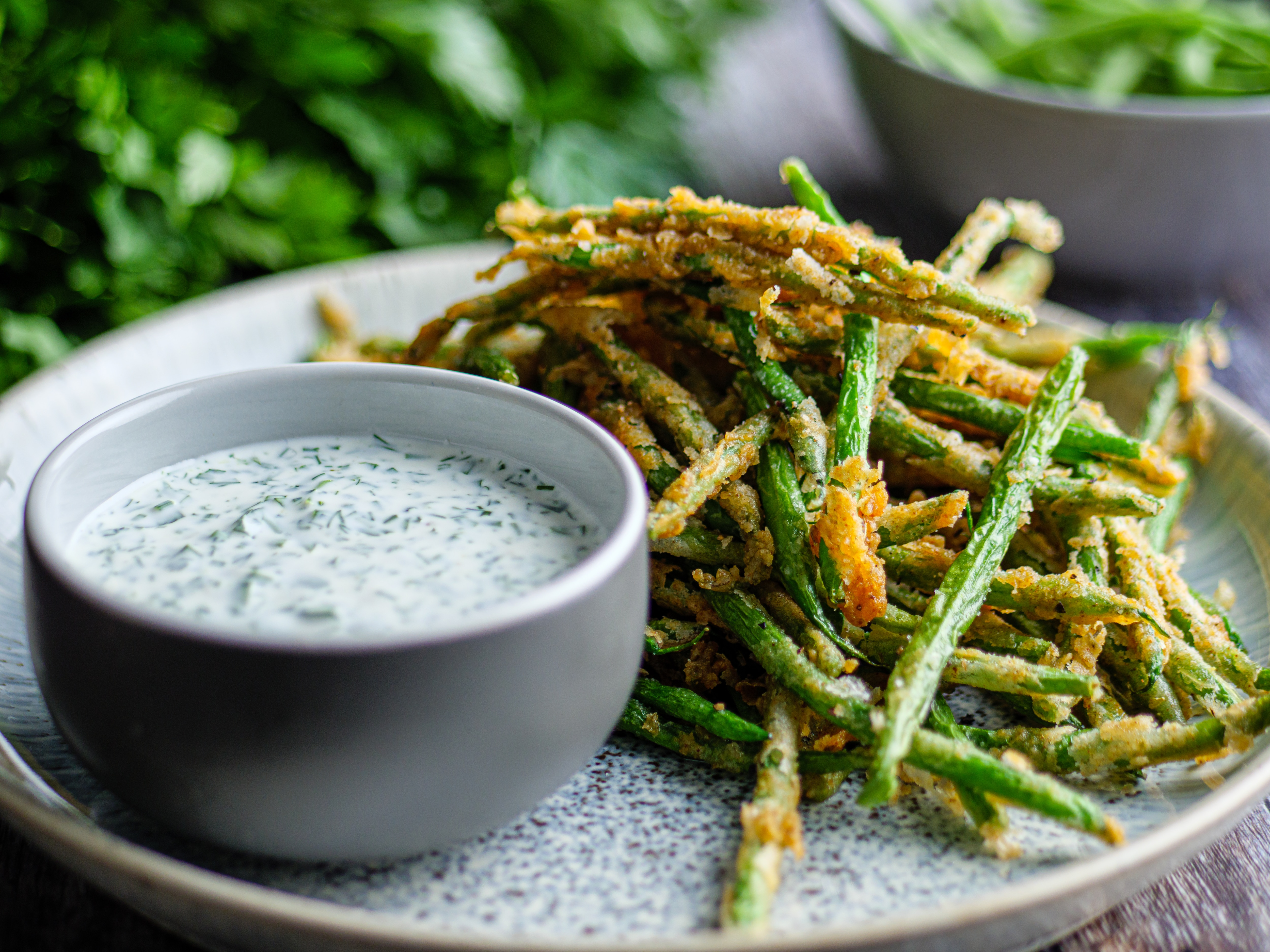 Crunchy Green Beans with Ranch Dressing