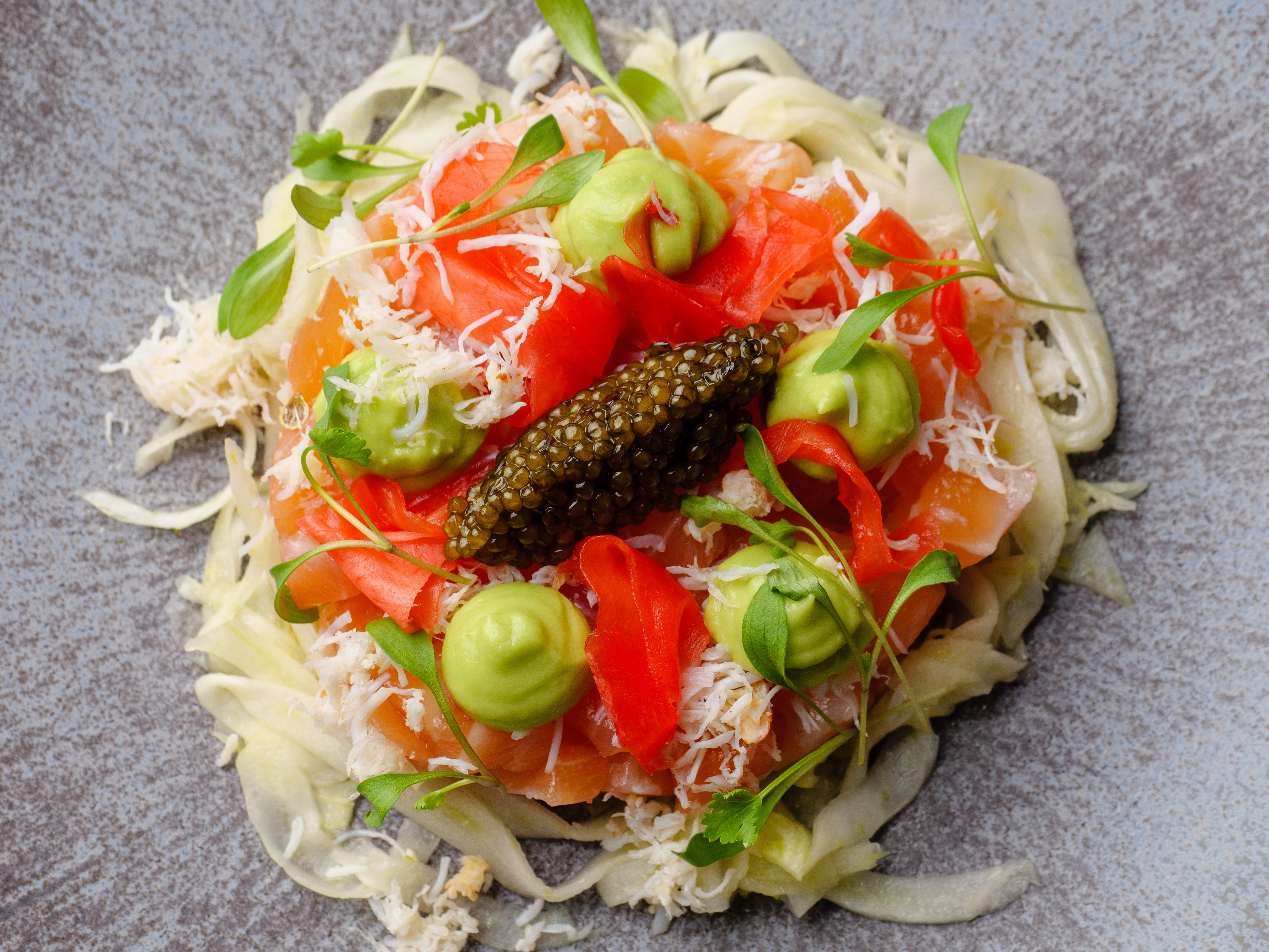 Cured Salmon With Crab, Fennel & Avocado Cream