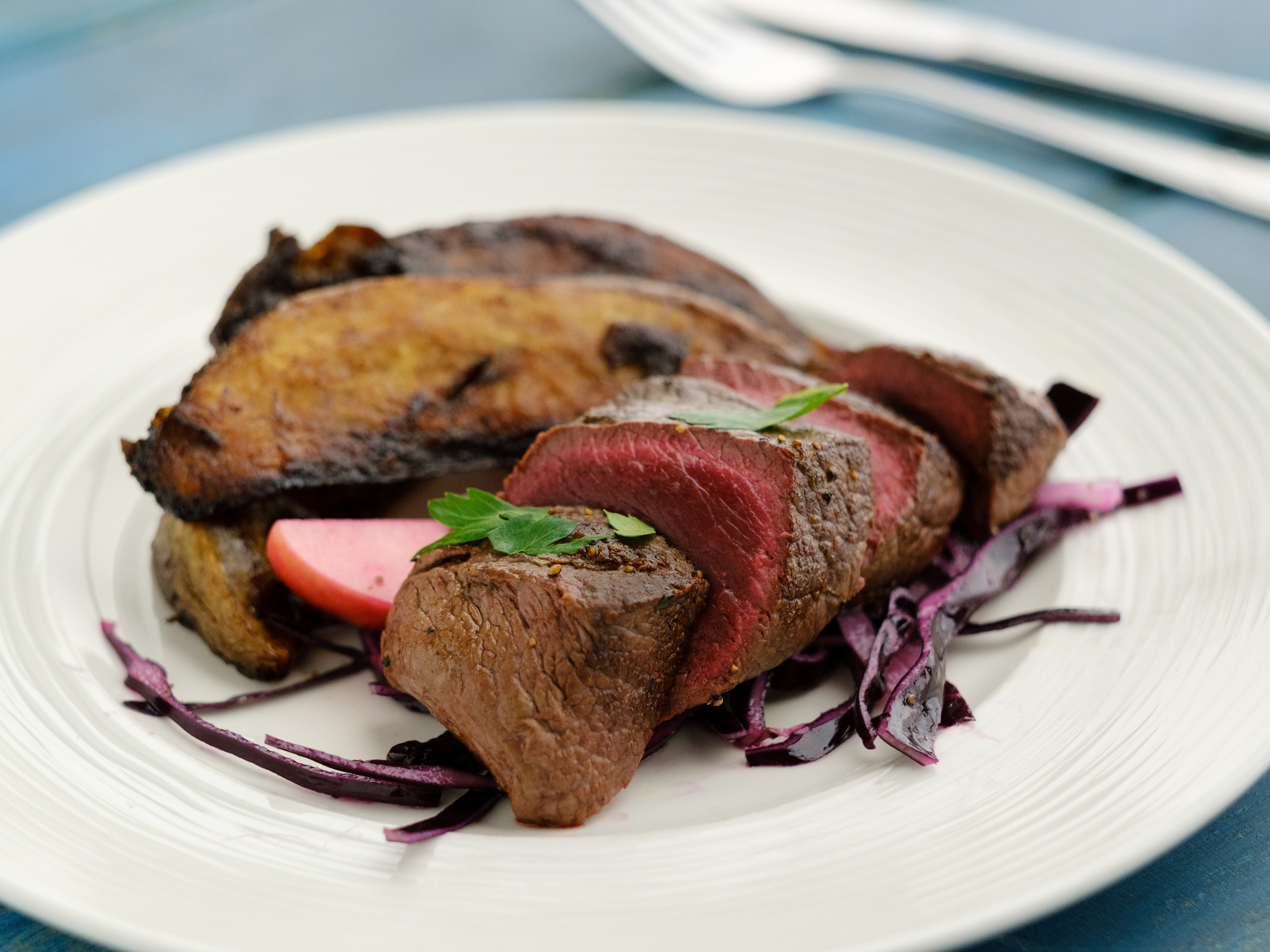 Venison With Balsamic Potatoes & Red Cabbage