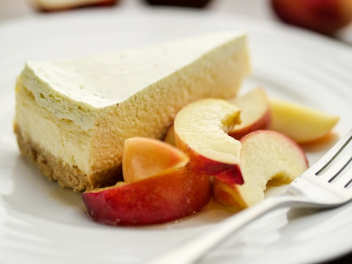 Vanilla Cheesecake with White Peach and Honey Salad