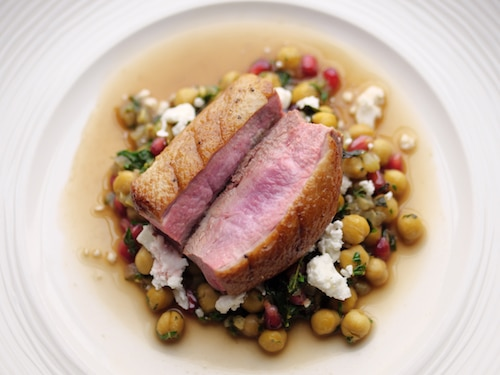 Duck Breast With Chickpeas, Pomegranate And Feta