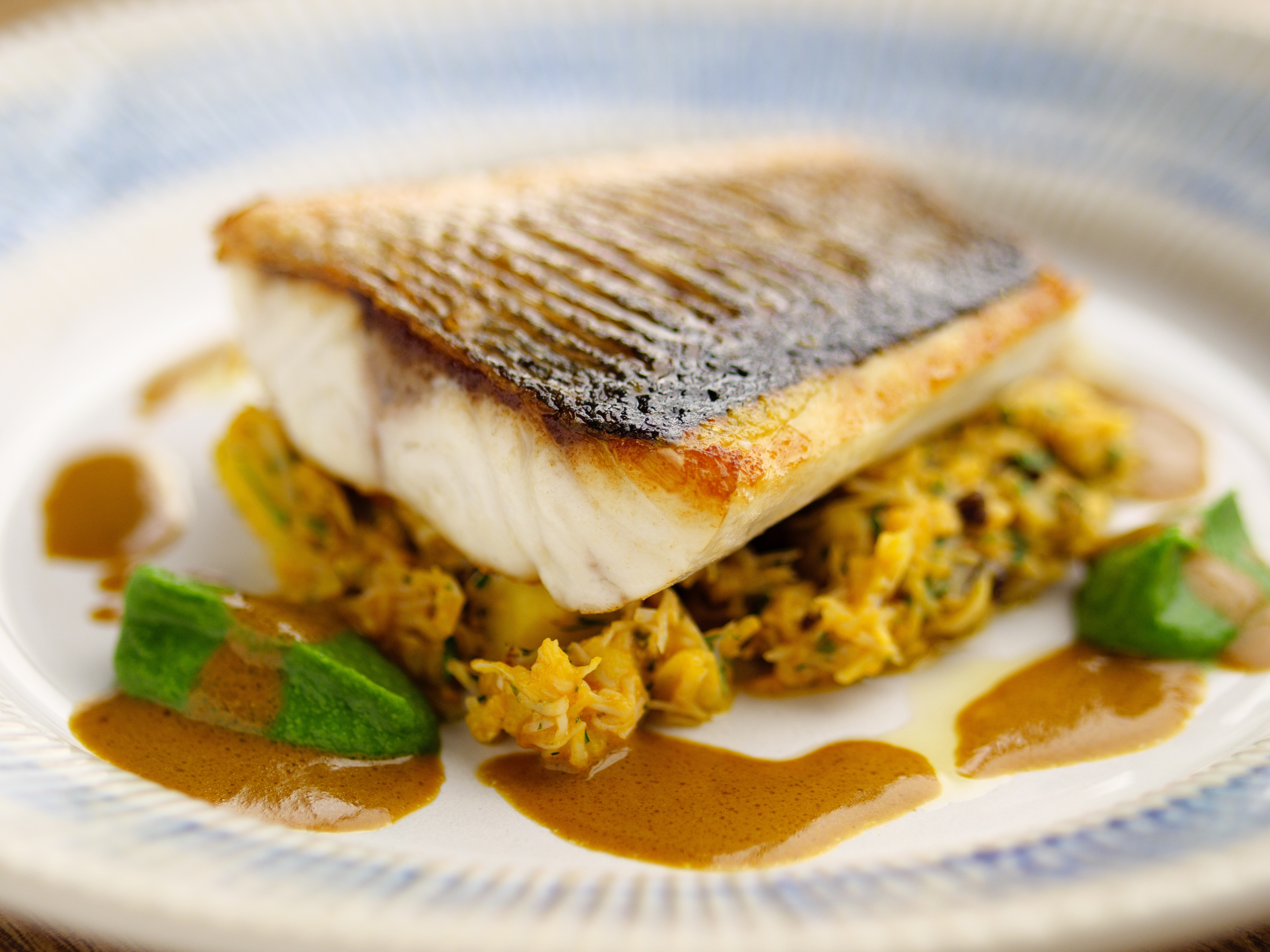 Sea Bass, Crab And Crushed Potatoes
