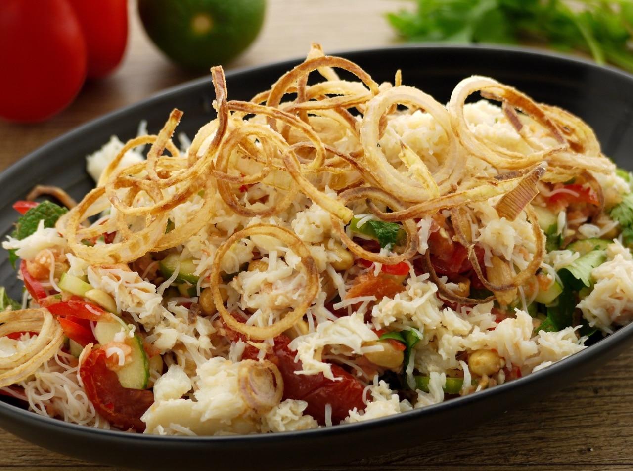 Hot Crab, Noodle & Peanut Salad