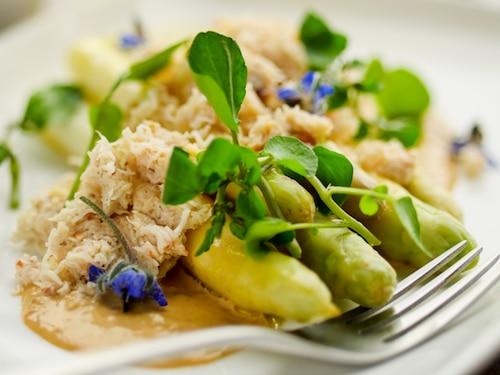 Crab, White Asparagus & Brown Crabmeat Mayo Salad