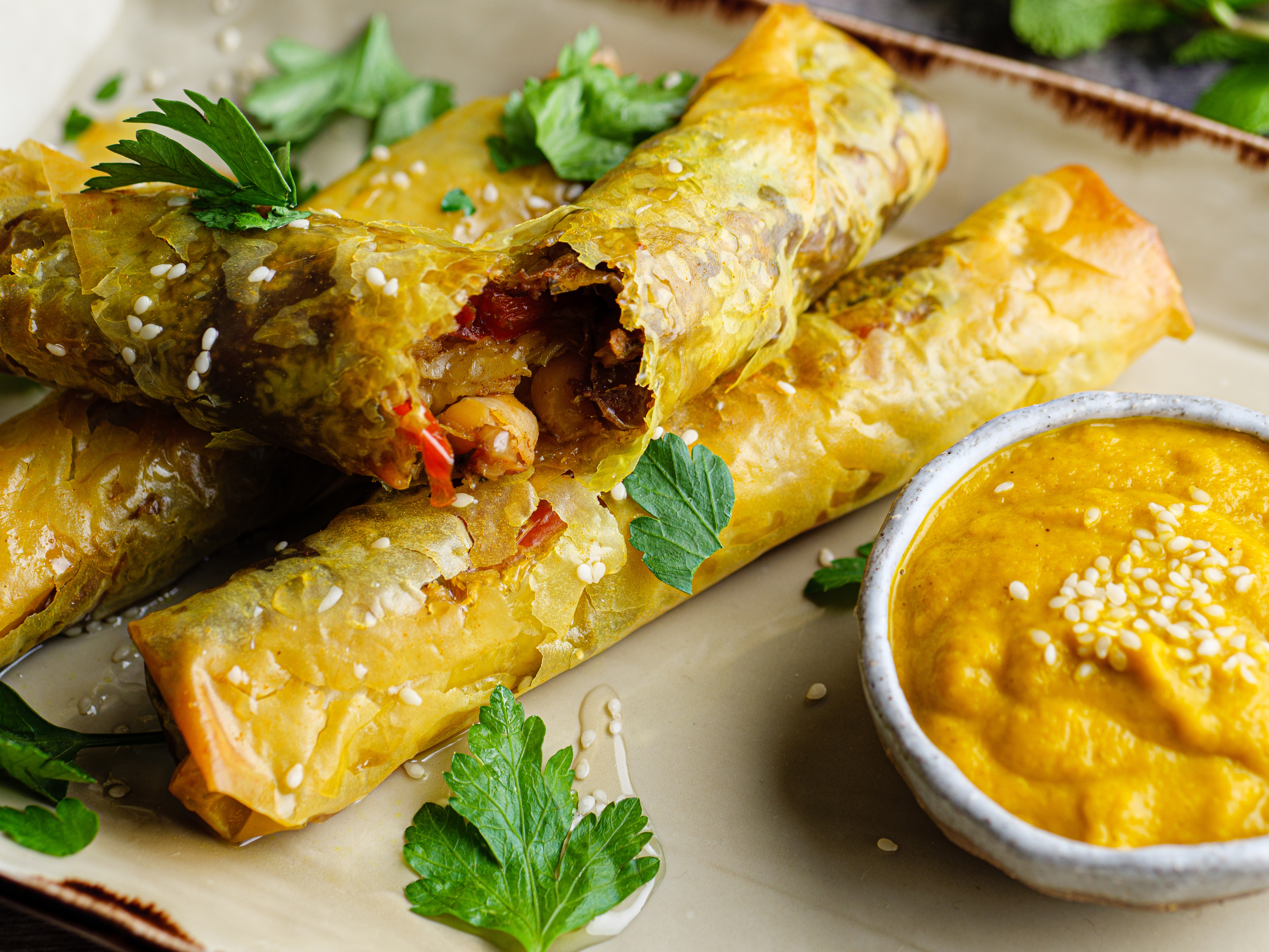 Moroccan Spiced Filo Parcels With Carrot and Rose Water Puree