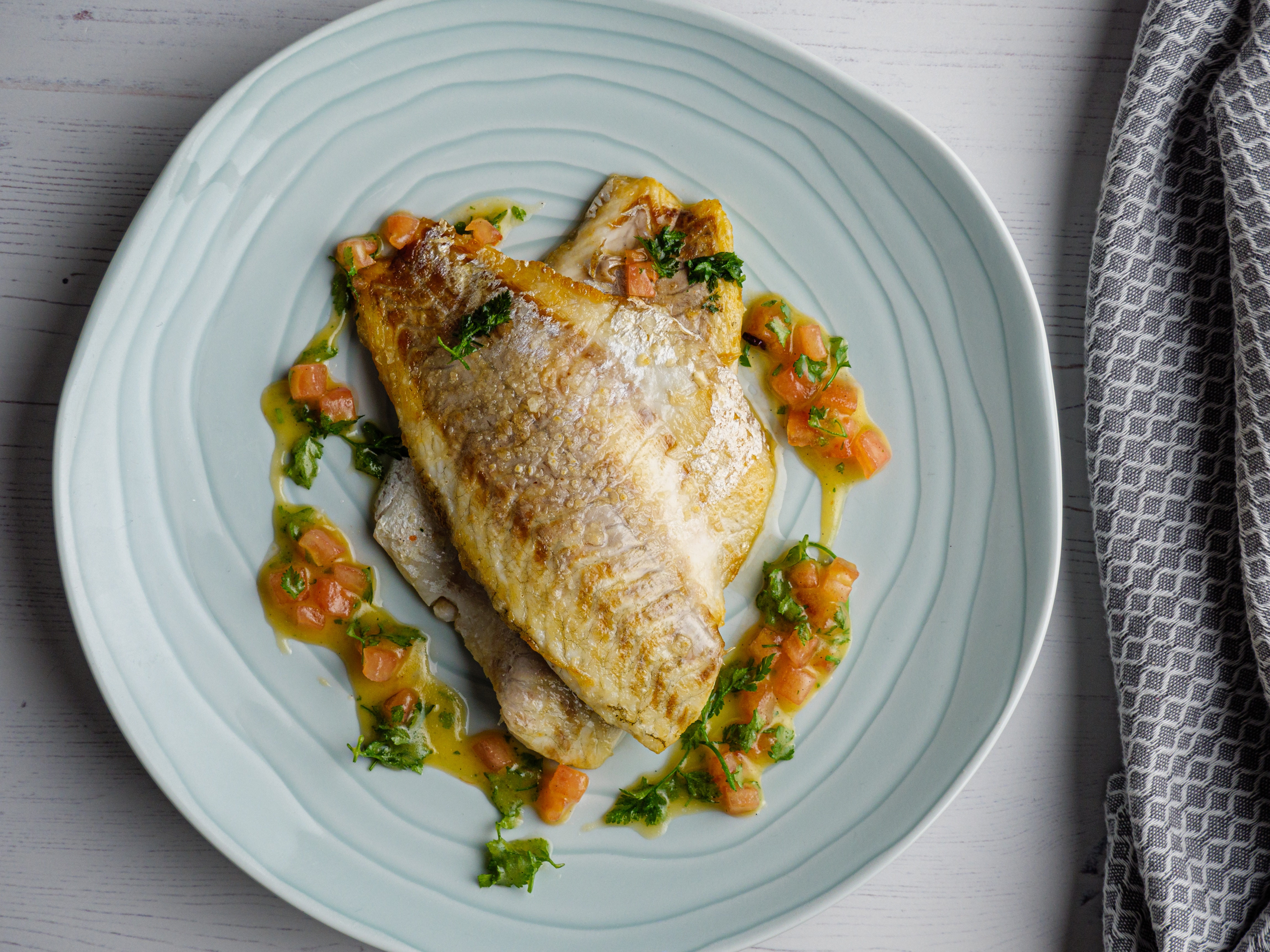 Fillets of Sea Bass with Vanilla Vinaigrette